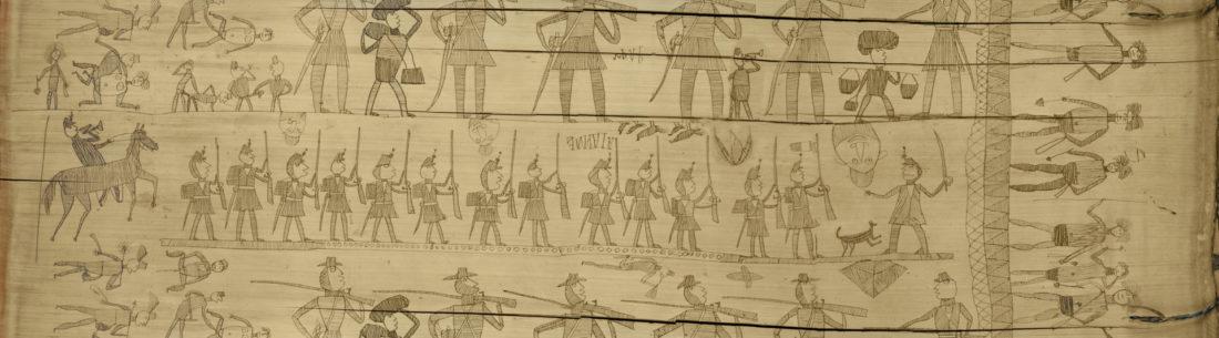Bambou gravé représentant des Kanaks et des soldats d'infanterie de Marine, une scène d'orgie sexuelle, des lézards et roussettes, collections du muséum de Toulouse
