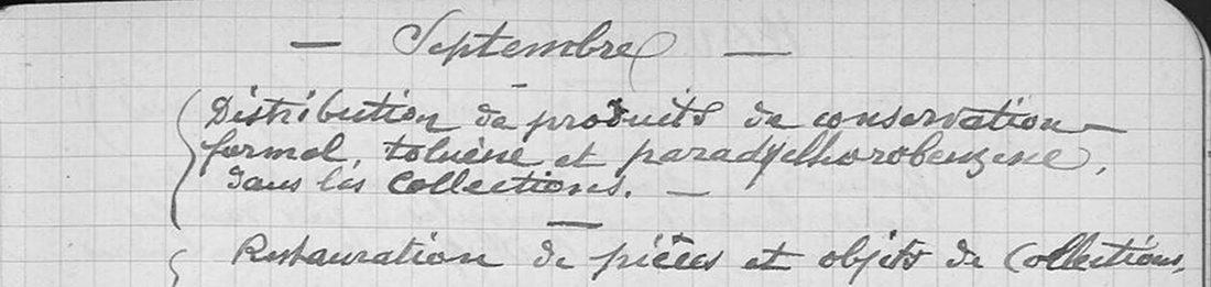 Entretien des collections par Philippe Lacome en 1934