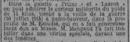 Description de la météorite tombée en 1914 et conservée au muséum, Le Midi Socialiste, 1923