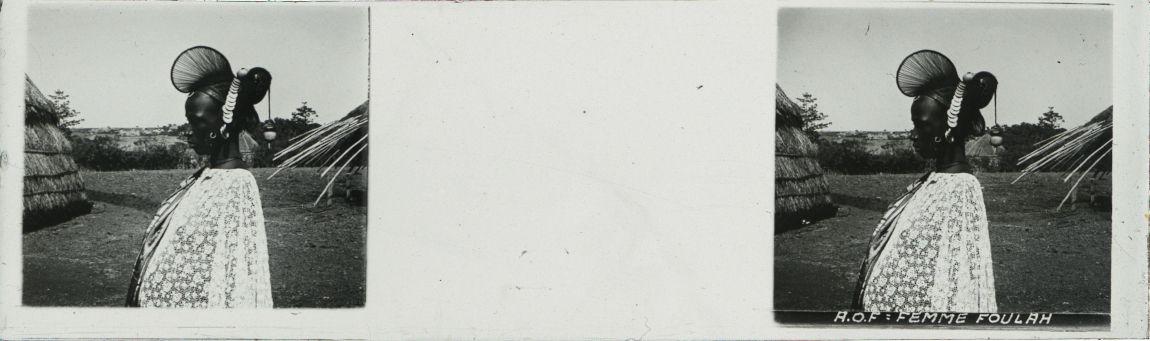 Photo., plaque de verre, femme Sénégalaise, collections du muséum de Toulouse
