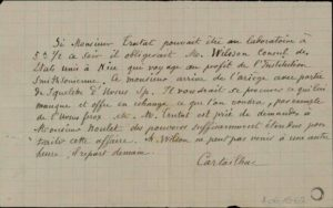 Note manuscrite de la main d'É. Cartailhac concernant un échange d'ours des cavernes entre le muséum de Toulouse et le Smithsonian (États-Unis)