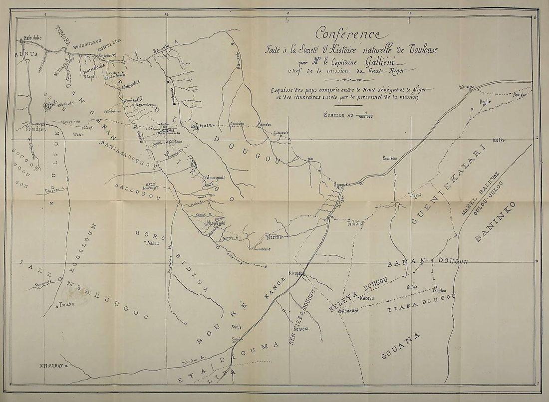 Carte parue dans le Bulletin de la socité d'Histoire naturelle de Toulouse de 1882 à l'occasion d'une conférence du Général Galliéni