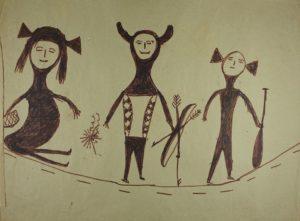 Dessin, crayon feutre, papier, collections du muséum de Toulouse