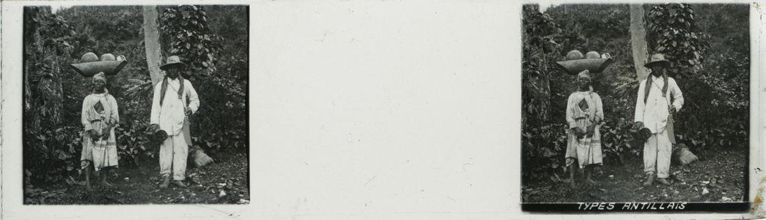 """Photographie représentant un homme et une femme portant l'inscription """"Type antillais"""", collections du muséum de Toulouse"""