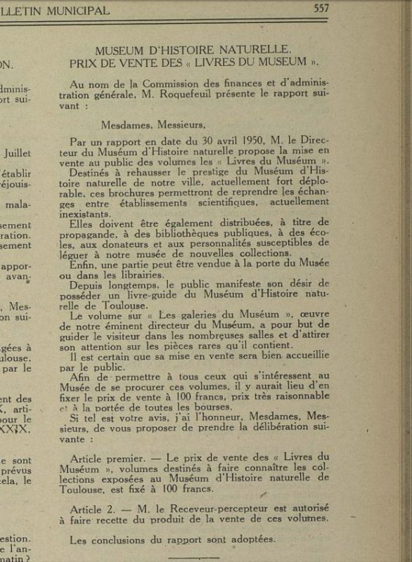 Extrait de délibération du conseil municipal , Bibliothèque municipale de Toulouse