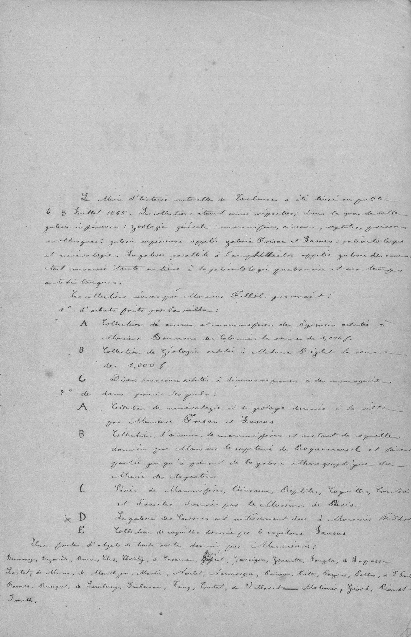 Extrait du registre des entrées du muséum de Toulouse 1866-1870