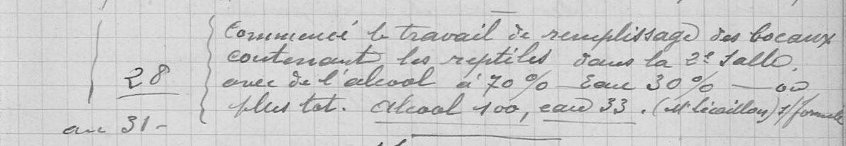 Entretien des collections en milieu liquide, 1921
