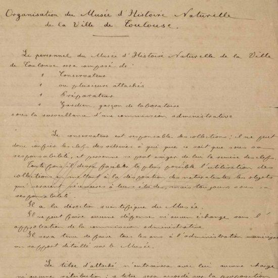 Note d'Eugène Trutat, archives du muséum de Toulouse
