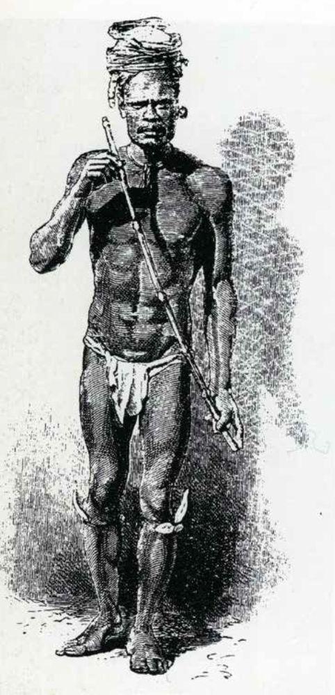 Joueur de flûte, Dessin de A. de Neuville d'après une photographie